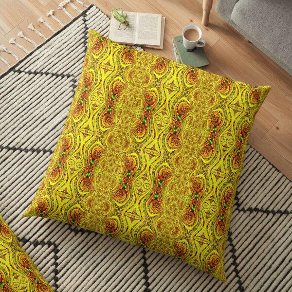 Yellow Swirl Fractal Floor Pillow