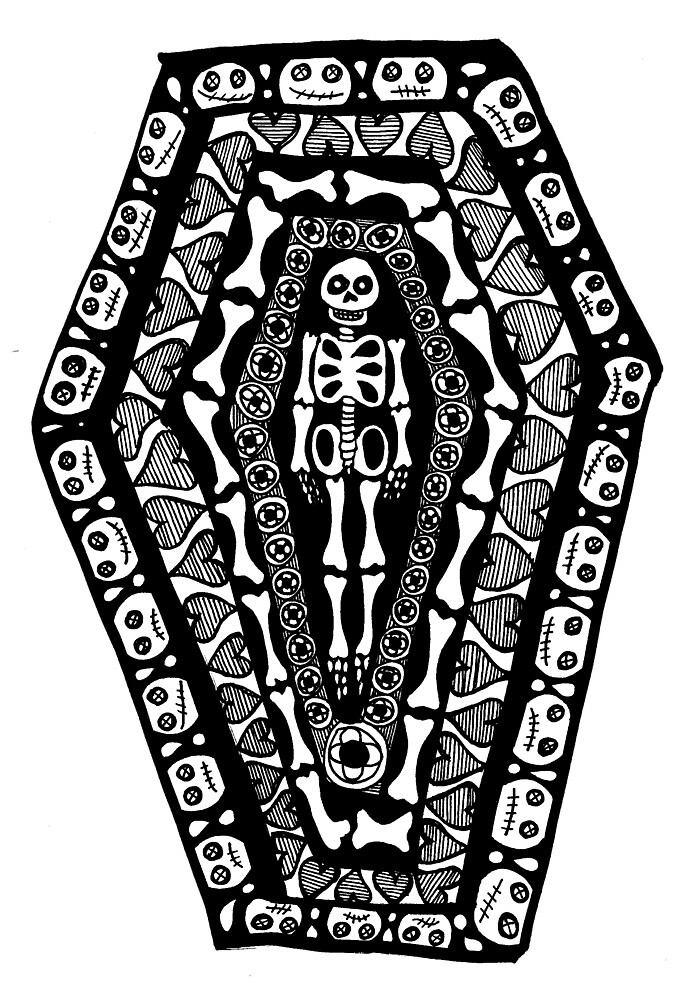 Gothic Coffin Drawing by mintdawn