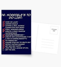 Dr. Horrible's To Do List  Postcards