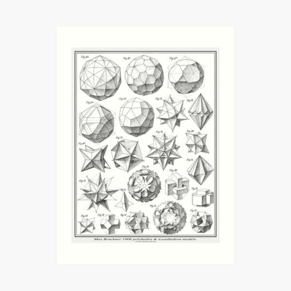 Max Bruckner 1906 polyhedra & icosahedron models Art Print