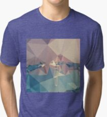 Opera Mauve Abstract Low Polygon Background Tri-blend T-Shirt