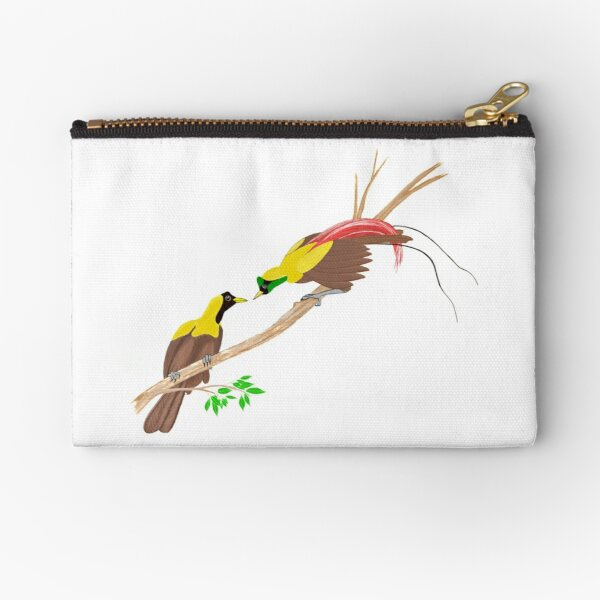 Red Bird of Paradise Couple Zipper Pouch