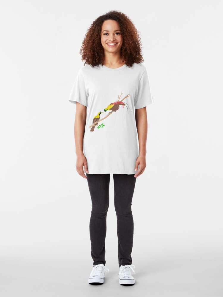 Alternate view of Red Bird of Paradise Couple Slim Fit T-Shirt