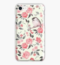 Watercolor floral background with cute bird /2 iPhone Case/Skin