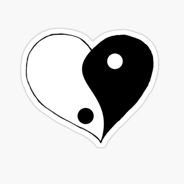 Half white half black heart  Sticker