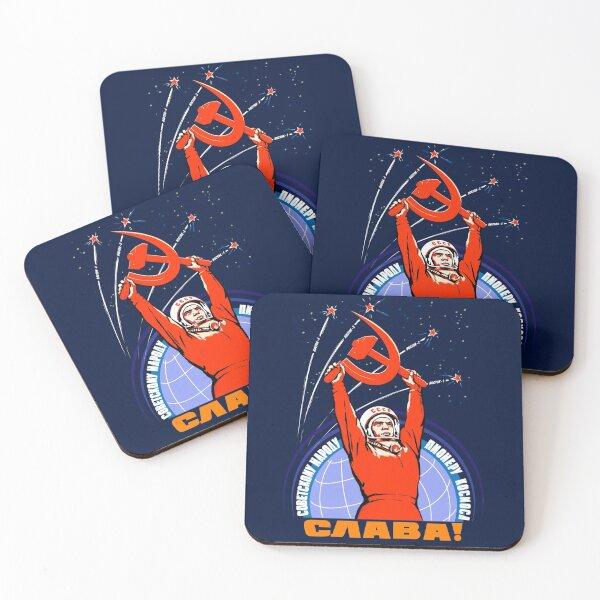 Soviet Propaganda. Yuri Gagarin Posavasos (lote de 4)