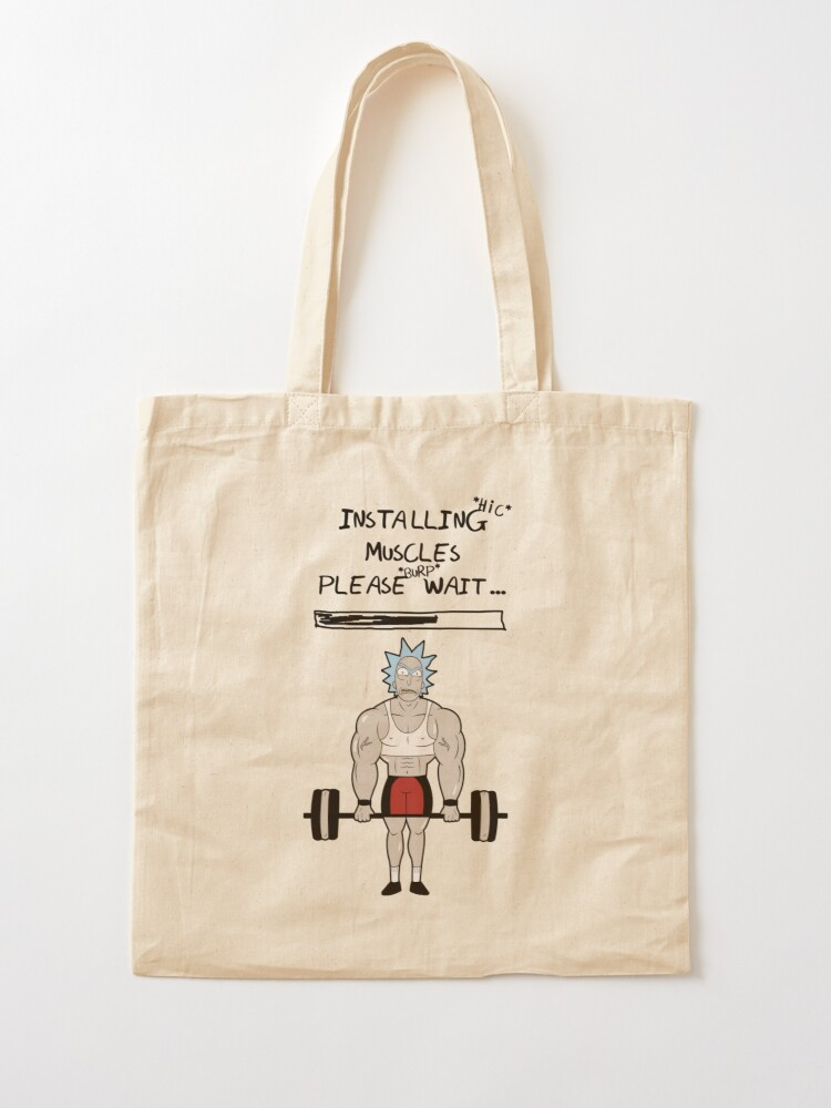 Alternate view of Rick and Morty. Installing muscles. Tote Bag