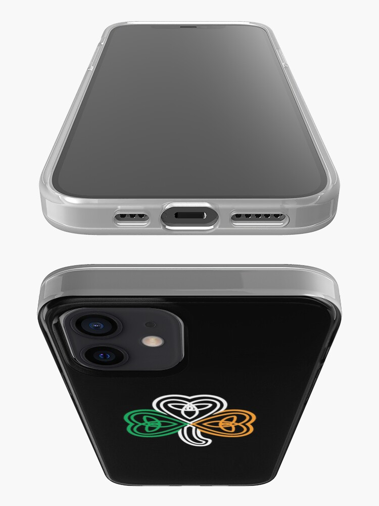 Alternate view of Ireland Flag Over a Celtic Knot Shamrock iPhone Case & Cover