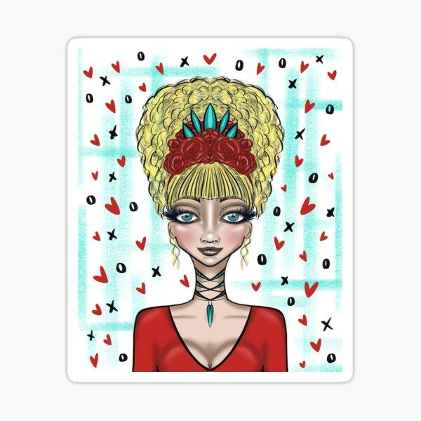 Whimsical digitial girl design Sticker