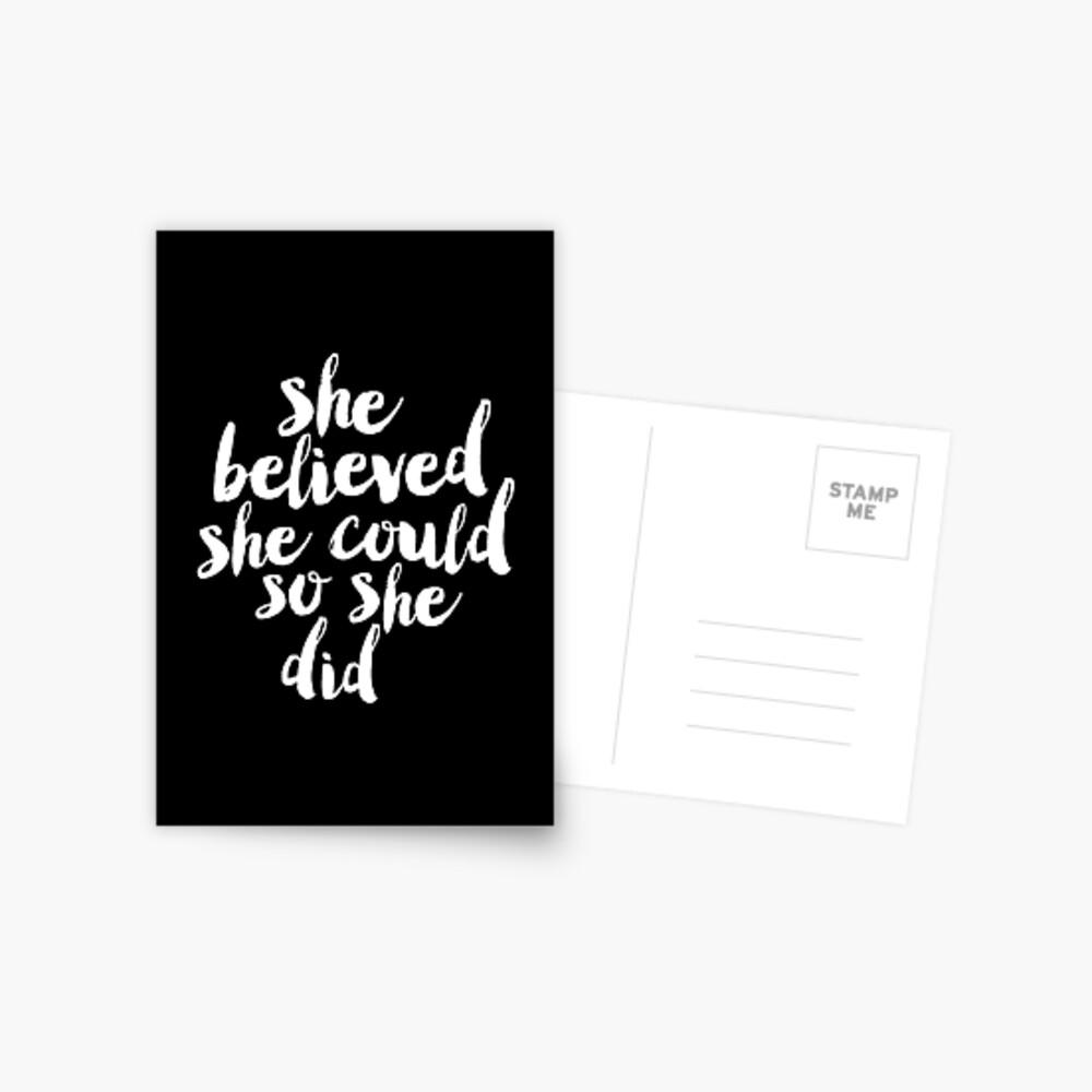 Sie glaubte, sie könnte so tat sie Postkarte