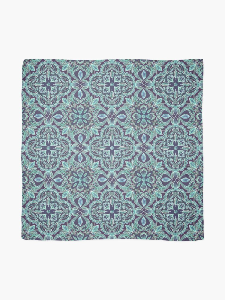 Alternate view of Chalkboard Floral Pattern in Teal & Navy Scarf