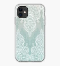 Lace & Shadows - soft sage grey & white Moroccan doodle iPhone Case