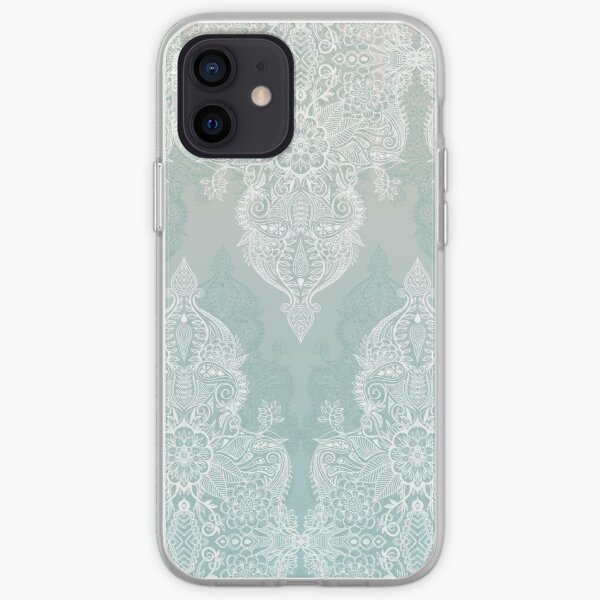 Lace & Shadows - soft sage grey & white Moroccan doodle iPhone Soft Case