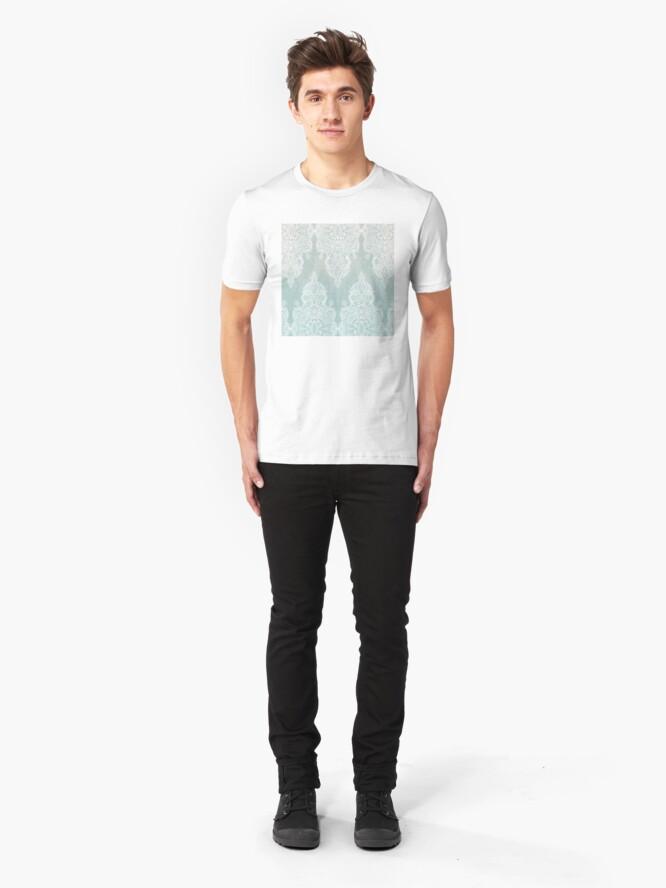 Vista alternativa de Camiseta ajustada Encaje y sombras - garabato marroquí gris sabio y blanco suave