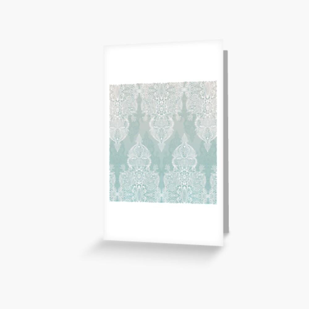 Encaje y sombras - garabato marroquí gris sabio y blanco suave Tarjetas de felicitación