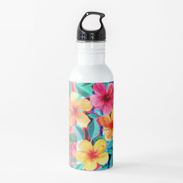 OTT Maximalist Hawaiian Hibiscus Floral with Stripes Water Bottle