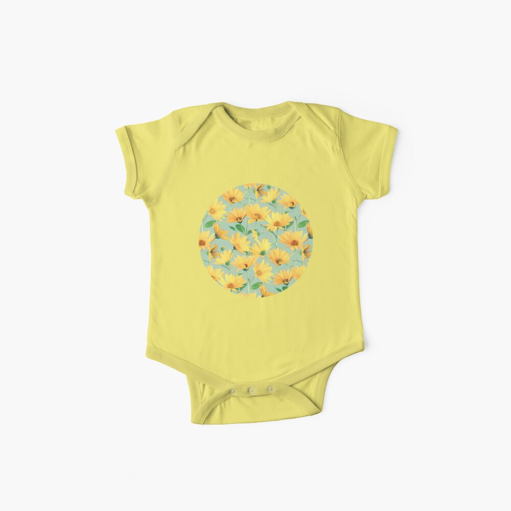 Painted Golden Yellow Daisies on soft sage green Baby One-Piece