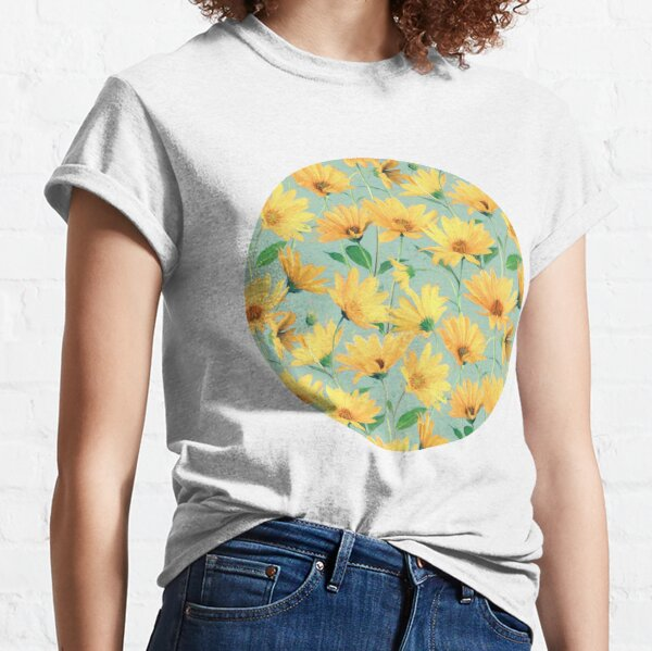 Painted Golden Yellow Daisies on soft sage green Classic T-Shirt