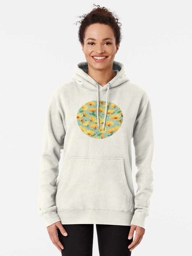 Alternate view of Painted Golden Yellow Daisies on soft sage green Pullover Hoodie