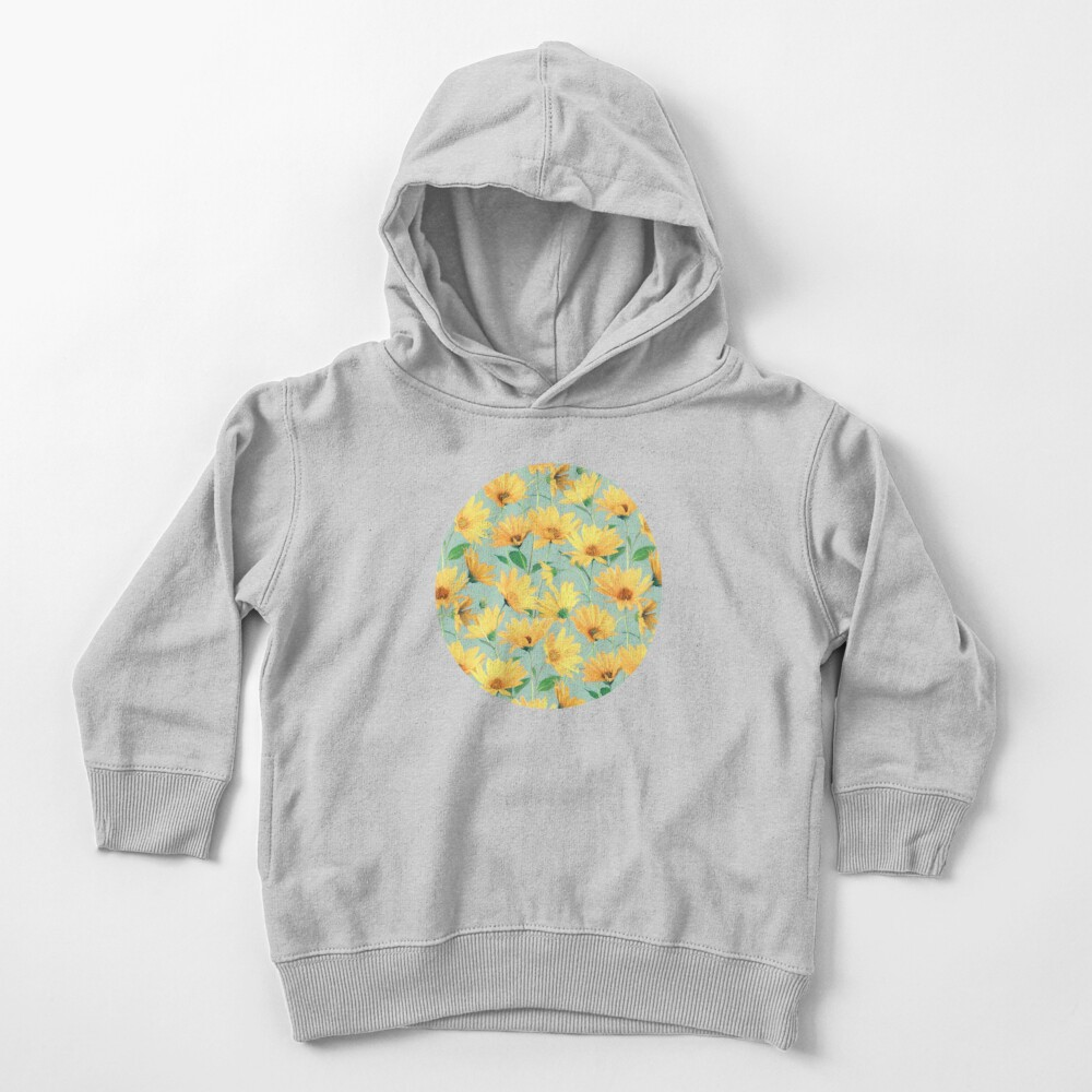 Painted Golden Yellow Daisies on soft sage green Toddler Pullover Hoodie