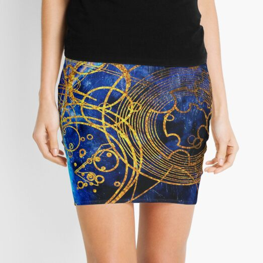 Time Lord Writing (blue) Mini Skirt