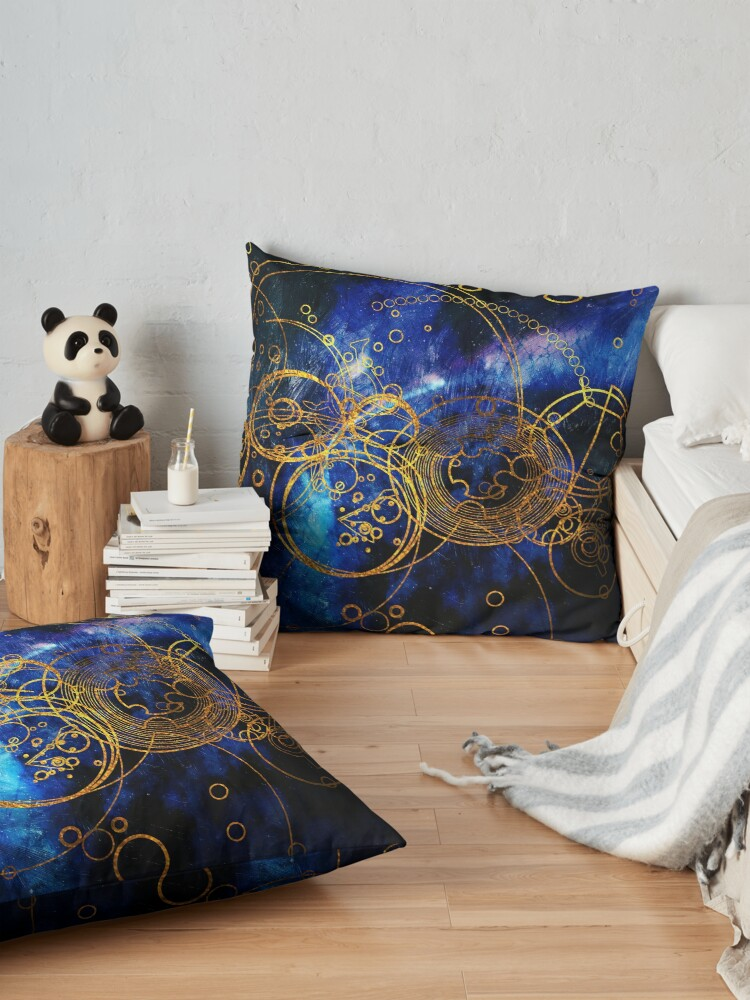 Alternate view of Time Lord Writing (blue) Floor Pillow