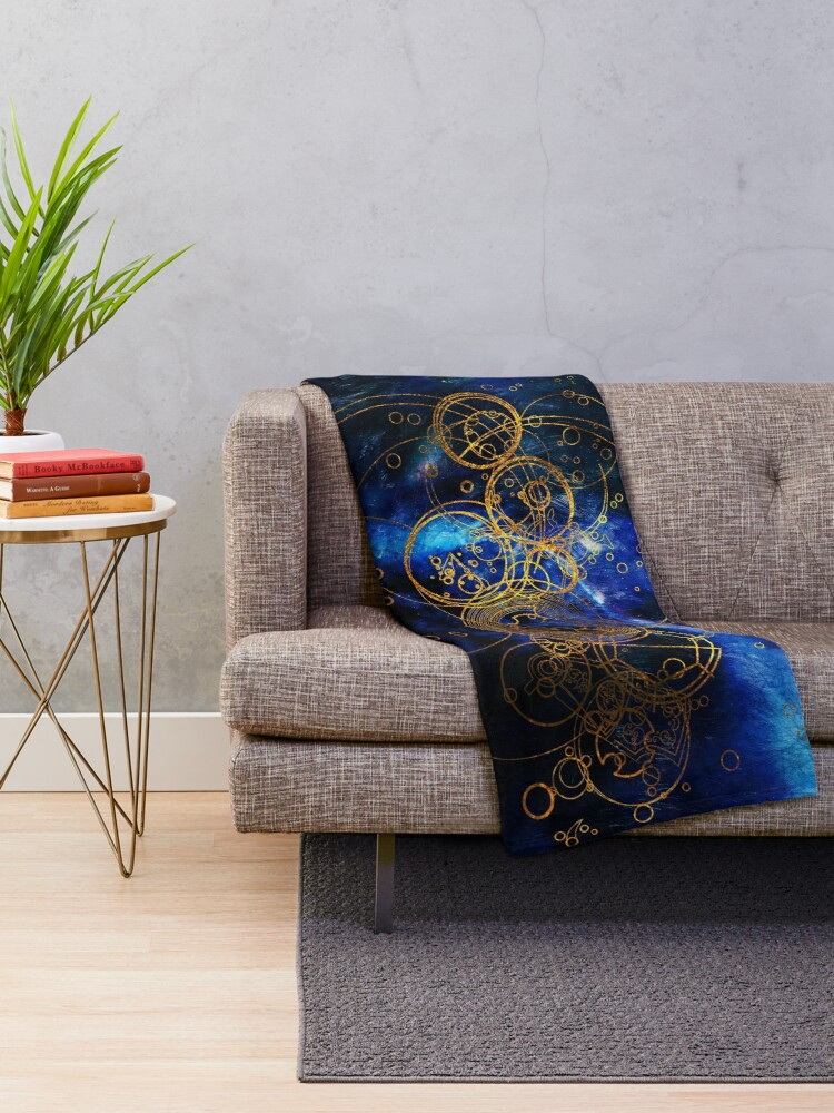 Alternate view of Time Lord Writing (blue) Throw Blanket