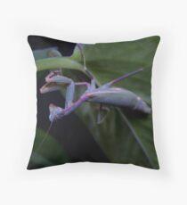 Neon Mantis Throw Pillow