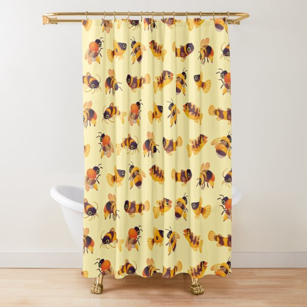 Bumblebee and fish Shower Curtain