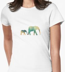 Geometric Elephants Womens Fitted T-Shirt
