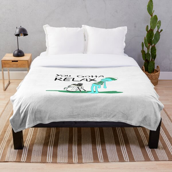 Mr. Meeseeks Quote T-shirt - You Gotta Relax - White Throw Blanket