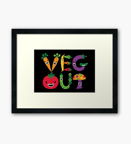 Veg Out - black Framed Print