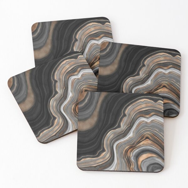 Elegant Black and Gray Marble with Gold Veins Coasters (Set of 4)