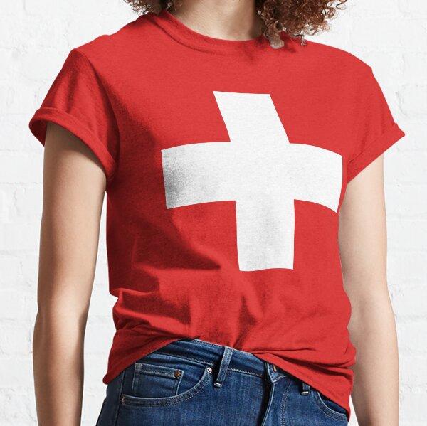 WHITE CROSS. On RED. Swiss. Switzerland. Swiss Flag, Flag of Switzerland, White Cross, Swiss Confederation. Classic T-Shirt