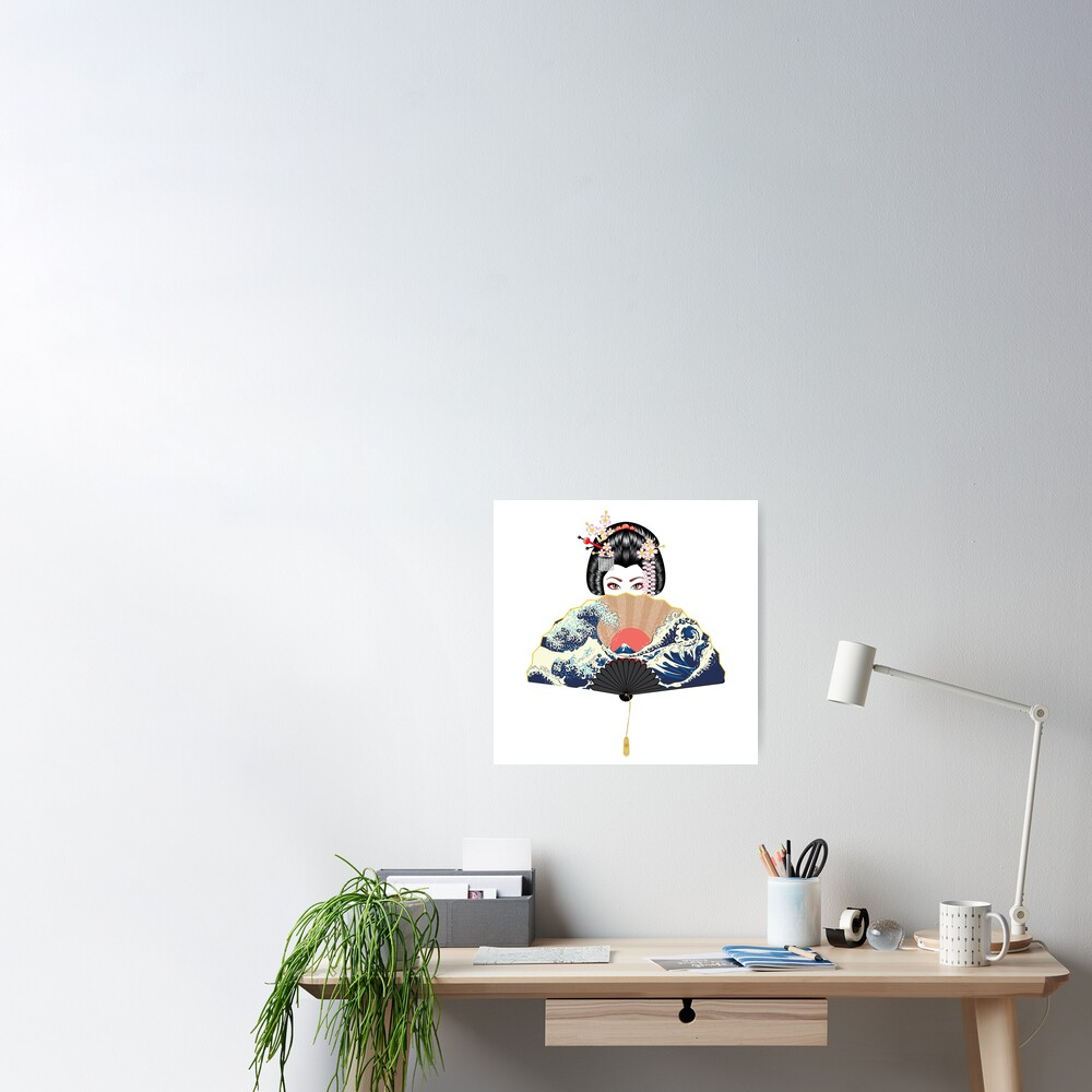 Geisha and fan with seascape  Poster