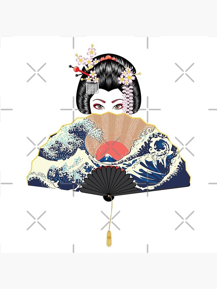 Geisha and fan with seascape  by AnnArtshock