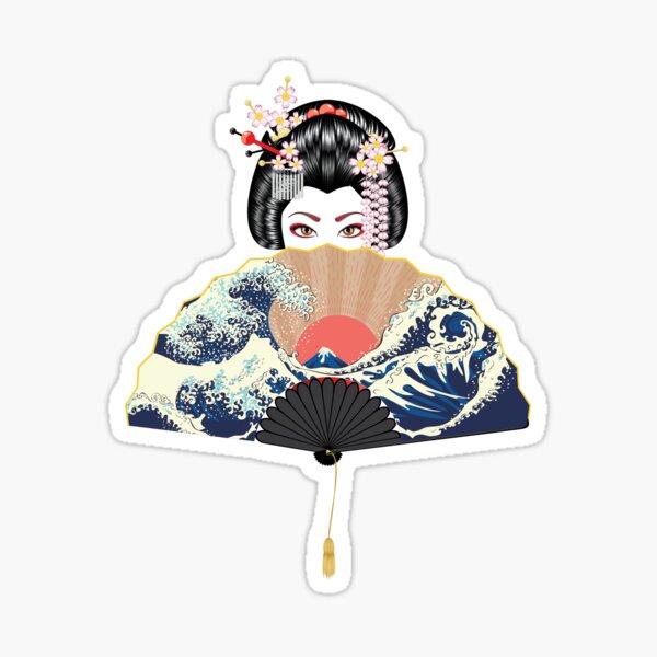 Geisha and fan with seascape  Sticker