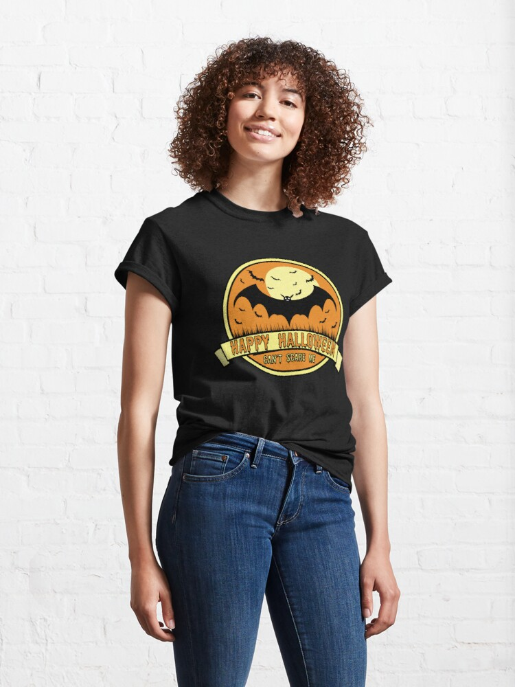 Alternate view of Can't Scare Me October Moonlit Spooky Vampire Bat. Classic T-Shirt