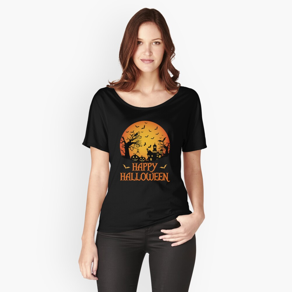 Haunted House Spider Cobweb Bat Crow Moonlit Gourd. Relaxed Fit T-Shirt