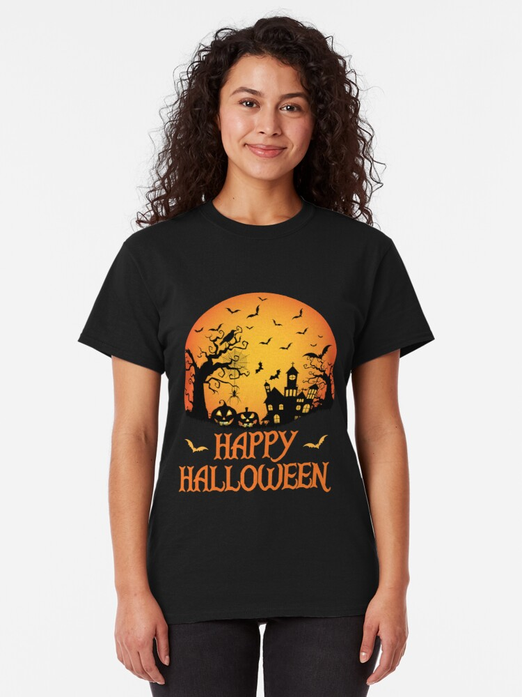 Alternate view of Spooky Scene Halloween Scene Scary Scene Design Classic T-Shirt