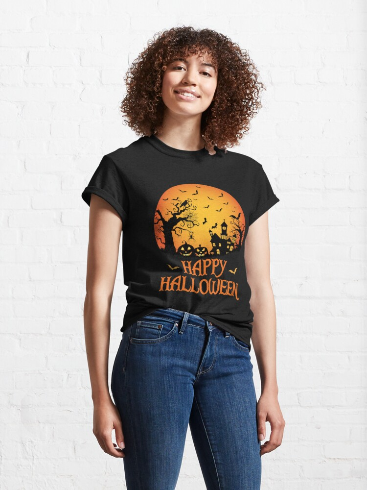 Alternate view of Haunted House Spider Cobweb Bat Crow Moonlit Gourd. Classic T-Shirt
