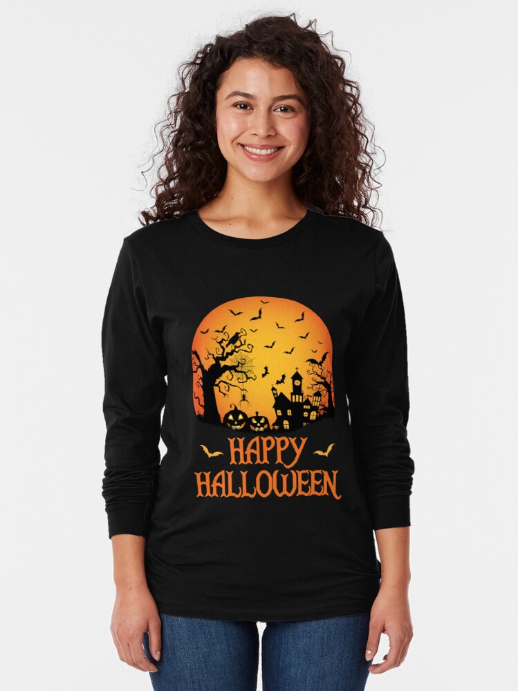 Alternate view of Haunted House Spider Cobweb Bat Crow Moonlit Gourd. Long Sleeve T-Shirt