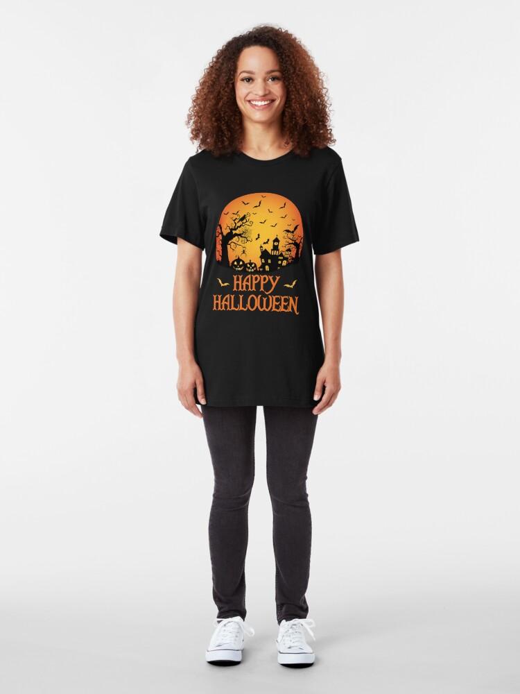 Alternate view of Spooky Scene Halloween Scene Scary Scene Design Slim Fit T-Shirt