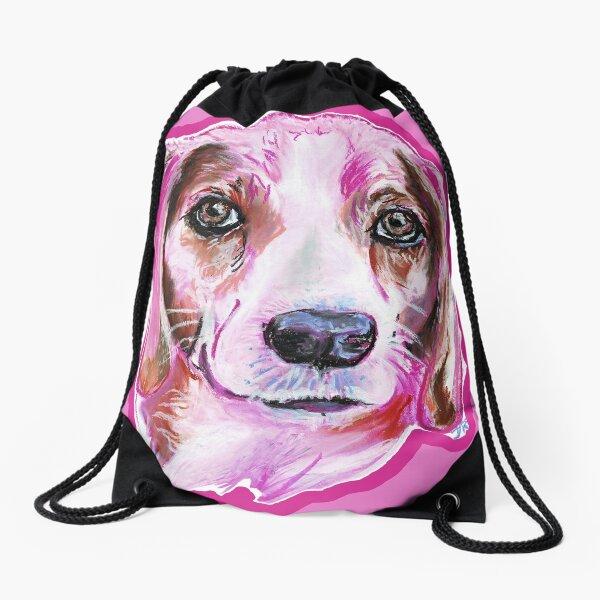 Beagle à la Pink Drawstring Bag