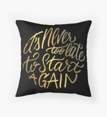 It's never too late to start again - Aerosmith Quote - Gold Floor Pillow