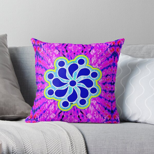Groovy Boho Flower Throw Pillow