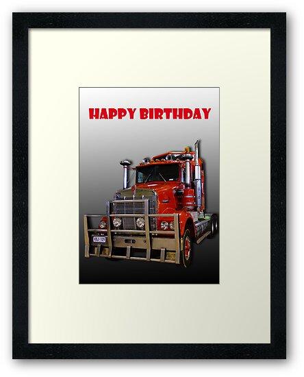 Red Kenworth Truck Happy Birthday