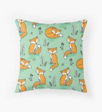 Dreamy Fox in Green Throw Pillow