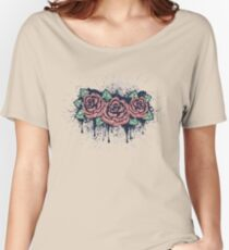 Grunge Roses with Splatters Women's Relaxed Fit T-Shirt