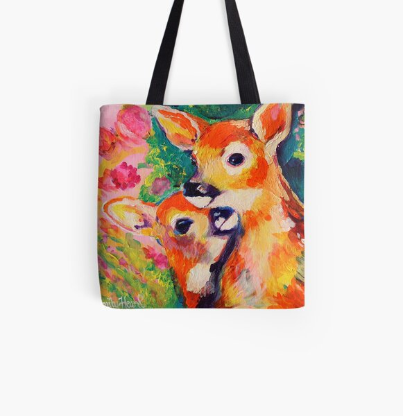 Baby Deer Pink All Over Print Tote Bag